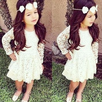 New Fashion Kids Toddler Baby Girl Clothes Flower White Beautiful Brief Long Sleeve Lace Tutu Party Dresses 2 4 6 8 10 year