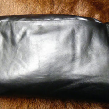 black leather pillow cushion hand stitched