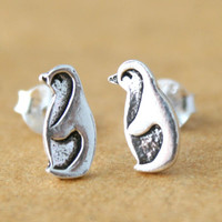 Sterling Silver Penguin Stud Earrings - Cute Penguin Earrings - Animal Jewelry - Penguin jewelry - Penguin Post Earrings - bird earrings