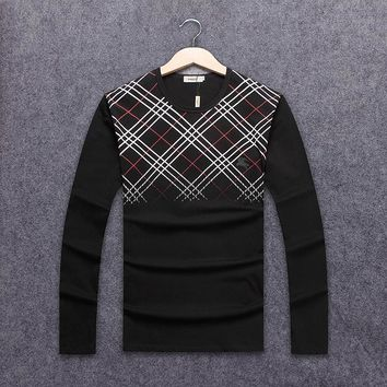 Burberry autumn and winter new long-sleeved round neck striped plaid men's long-sleeved round neck sweater black