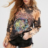 Reclaimed Vintage Oversized Long Sleeve T-Shirt With Guns And Roses Print at asos.com
