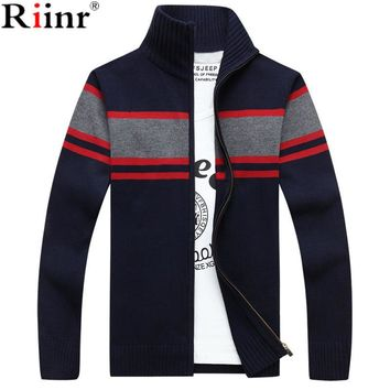 New Men Sweater Casual Style Stand Collar Cotton Material Thin Wool Warm Thick Autumn Winter Cardigan