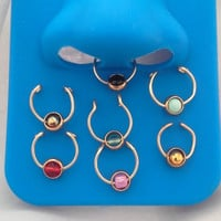Captive  Ball Septum Nose Cuff Body jewelry No Piercing Required-piercing imitation- faux nose ring- For Him/ For Her