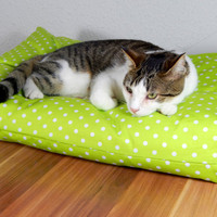Cat bed green bean bag for pets, pets pillow bed animals layer filled with bean filling bottom from non slip material
