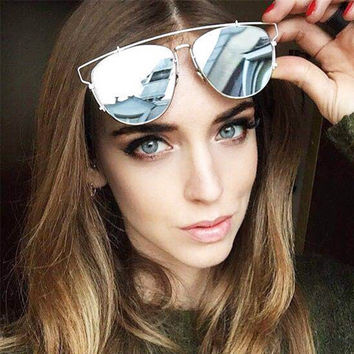 HapiGOO Vintage Fashion Oval Flat Top Mirror Sunglasses Women