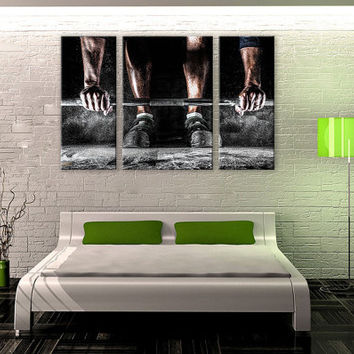 Power Lifter Portrait LARGE Canvas 3 Panels Print Fitness Wall Deco Fine Art Photography Repro Print for Home and Office Wall Decoration
