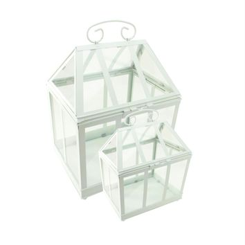"""Set of 2 White Metal and Glass Paneled Nesting Outdoor Greenhouse Terrariums 12.5""""-15.5"""""""