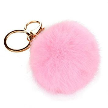 Keychains, Mikey Store Rabbit Fur Ball Keychain Bag Plush Car Key Ring Car Key Pendant (Pink)