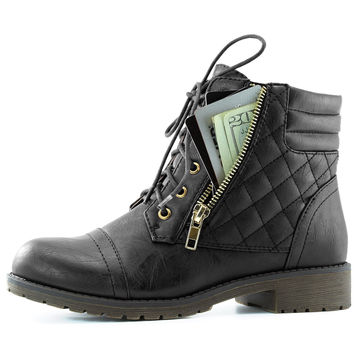 DailyShoes Women's Women's Military Combat Boots Quilted Lace Up Buckle Ankle High Exclusive Credit Card Pocket Black Pu 10 B(M) US '