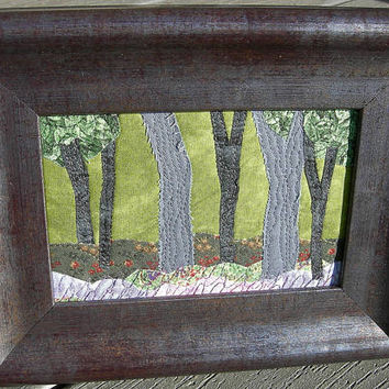 Forest Landscape,Handmade Fabric Postcard,Quilted Postcard, Textile Art,Landscape Art,Nature Postcard, Fabric Art, Mom Gift,Forest and Trees