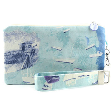 Nautical purse / pastel blue clutch / small beach bag / handmade fabric clutch featuring boats in the bue ocean