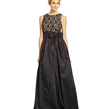 Eliza J Glitter Lace & Taffeta Ball Gown - Black/Gold