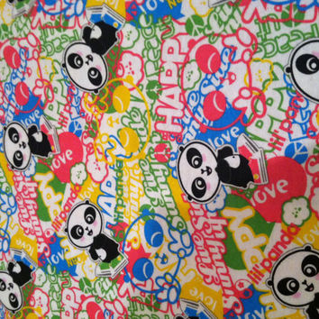 Colorful Panda Bear Fabric