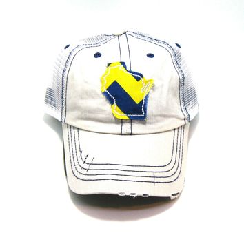 Wisconsin Trucker Hat - Putty Distressed - Royal and Yellow Chevron