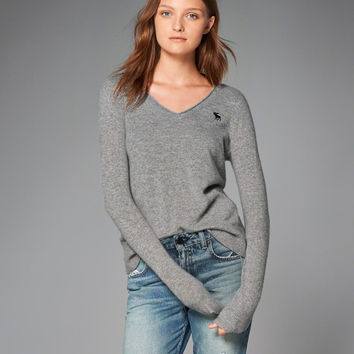 Womens Cashmere Icon V-Neck Sweater   Womens New Arrivals   Abercrombie.com