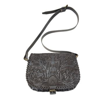Ladies Genuine Black Leather Custom Hand Tooled Floral Design Flap Saddle Bag 2-215-4R-BLK