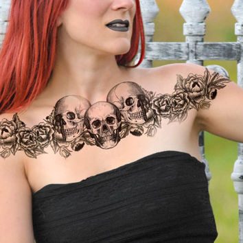 Skull Temporary Tattoo - Large Chest Piece, Floral, Large Tattoo, Skulls NO. R03