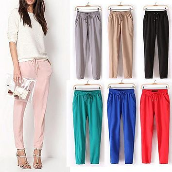 Women Fashion Casual Harem Pants Elastic Waist Slim Fit Full Length Trousers 09WG