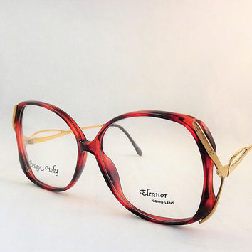 Big Vintage Glasses, Womens Mod Eyeglasses, Tortoise Shell Glasses, Brown and Gold Eyeglasses, Gold Metal Frames, 1980s NOS Glasses