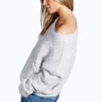 Patty Scoop Neck Fluffy Oversized Jumper