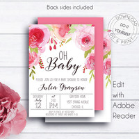 Floral Oh Baby Shower Invite, Printable Invite, Baby Girl Watercolour Invitations, Invitation Template, Oh Baby Shower, Editable Invitation