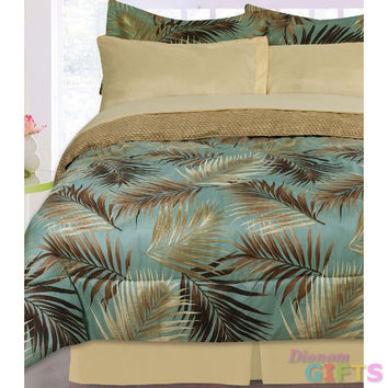 Kids Bedding- 3pc Nile Jungle Reversible Comforter Set- Aqua/ Brown/ Tan