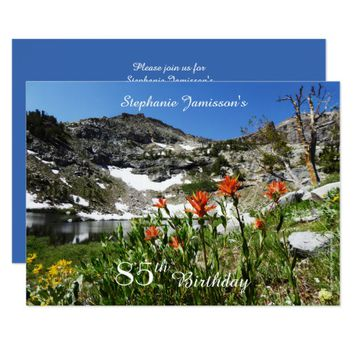 85th Birthday Invitation, Mountains, Wildflowers Card