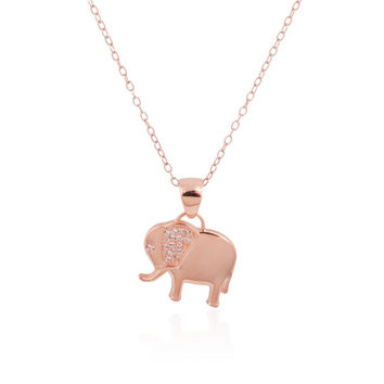 """925 Sterling Silver 14k Rose Gold Plated Elephant Pendant Necklace w- Clear CZs, 18"""""""