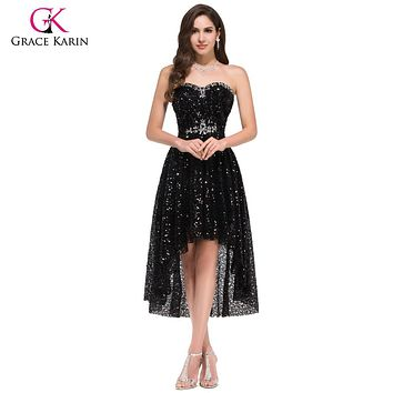 Grace Karin High Low Black Prom Dresses 2017 Short Front Long Back Evening Dress Vestidos de Festa Sequins Prom Dresses 8915