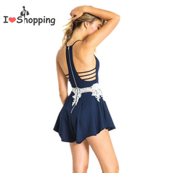 Body rompers with waist lace back bare