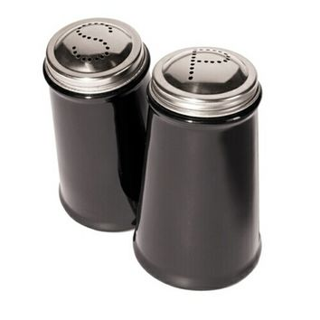 Black 2 Piece Salt and Pepper Shaker with Stainless Steel Tops