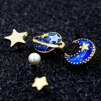 Blue Star Moon And Planet Rhinestone Earring 5Pcs Gift