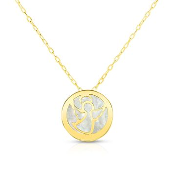 """14K Yellow Gold Mother Of Pearl Angel Pendant Necklace, 16"""""""
