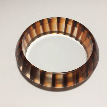 1980s Lucite Bangle Bracelet, Clear with Brown Stripes, Layering Jewelry, Arm Party, Layering Piece, Costume Jewellery 318