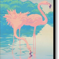 Pink Flamingos Abstract Retro Pop Art Nouveau Tropical Bird Art 80s 1980s Florida Decor Canvas Print / Canvas Art By Walt Curlee