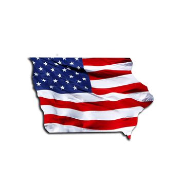 Iowa Waving USA American Flag. Patriotic Vinyl Sticker