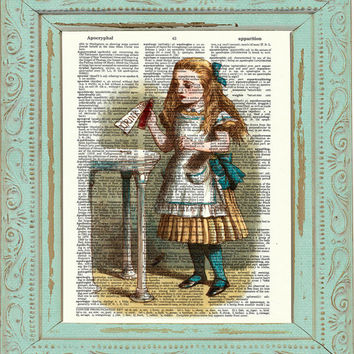 Alice in Wonderland Decor Decoration Alice in Wonderland Art Print Dictionary Print on Book Page Chesire Mad Hatter We are All Mad Here C:02