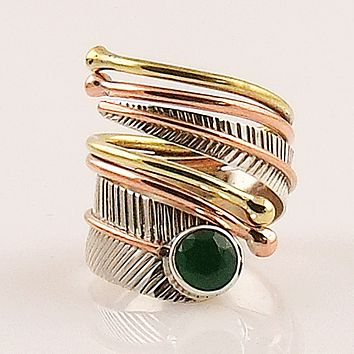 Emerald Three Tone Sterling Silver Adjustable Leaf Wrap Ring