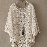 Fanewant — HOLLOW OUT LACE SEVEN SLEEVE SMOCK