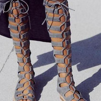 Fashion Gray Suede Leather Women Lace Up Boots Sexy Open Toe Ladies Gladiator Boots Zipper Back Female Summer Knee High Boots