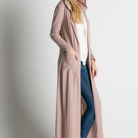 Lost in the Woods Ribbed Hooded Duster Cardigan (Mauve)