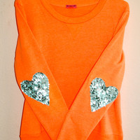 "The ""Dazzle Patch"" Sweatshirt  w/Heart Sequin Elbow Patch"