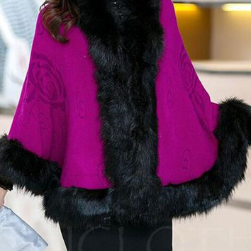 Chicloth Faux Fur Trim Cape Coats