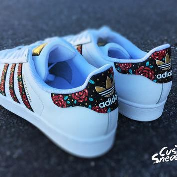 Custom Adidas Superstar for men and women, Adidas custom Hand Painted floral design, U