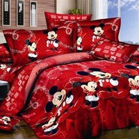 red Pink Mickey Mouse Cotton king queen Size Duvet quilt Cover bed Set sheet 4pc