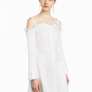 Elle White Ruffled Cold Shoulder Dress