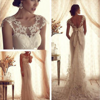 Sheer Neck Spring Ivory Lace Wedding Dress Gown Bridal Dress Size 0 2 4 6 8 10