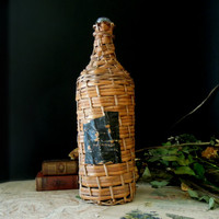 Vintage Brandy Bottle Wrapped in Woven Straw / Demijohn / Wicker / Black Label