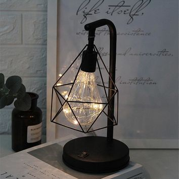 Christmas Creative Holiday Retro Iron Art Minimalist Hollow Diamond Table Lamps Reading Lamp Night Light Bedroom Desk Lighting