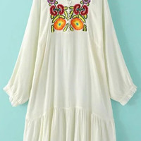 White Round Neck Embroidered Pleated Hem Dress